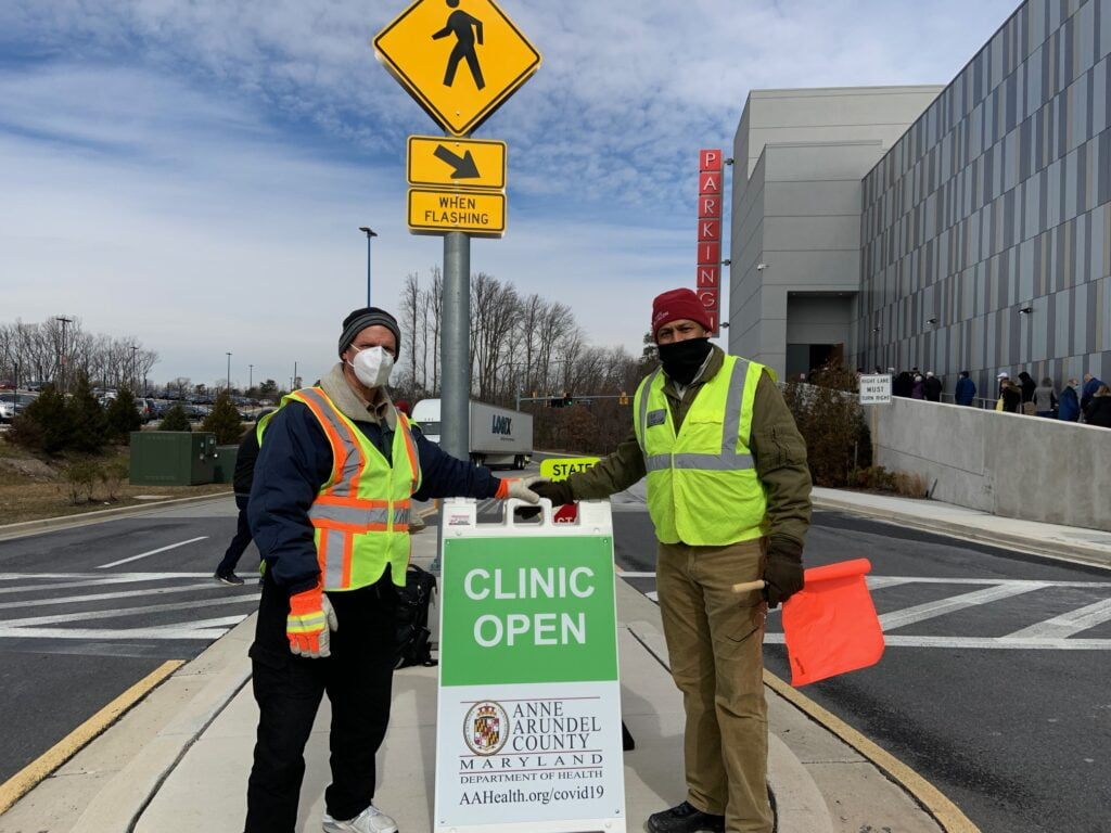 MDVOAD members help with traffic control.