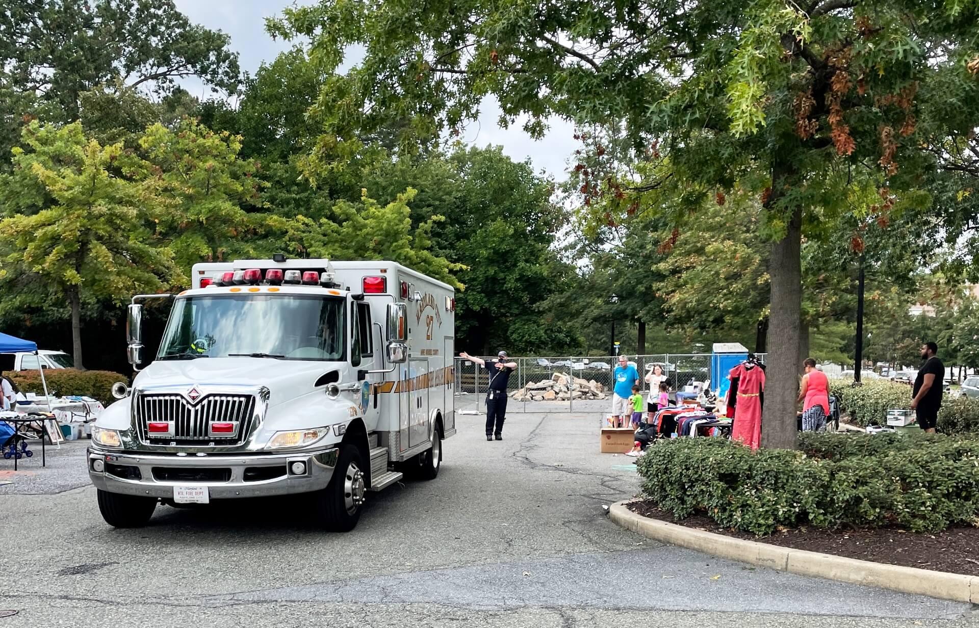 AACFD ambulance backs into a spot.